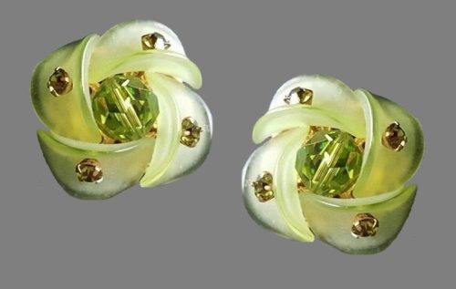 Green accent earrings. Lucite, glass cabochon, rhinestones