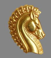 Horse head brooch, gold filled, 4.5 cm