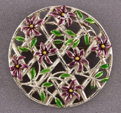 Flower round Brooch Silver 925 vintage