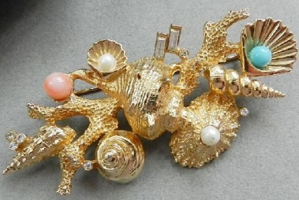 Sea shells brooch, 1970s