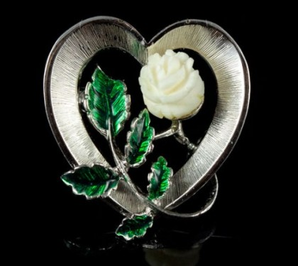 Miniature gold-plated silver brooch with a rose of ivory, carved by hand, and gentle enamel on succulent leaves. Rose, though tiny, but very detailed and delicate