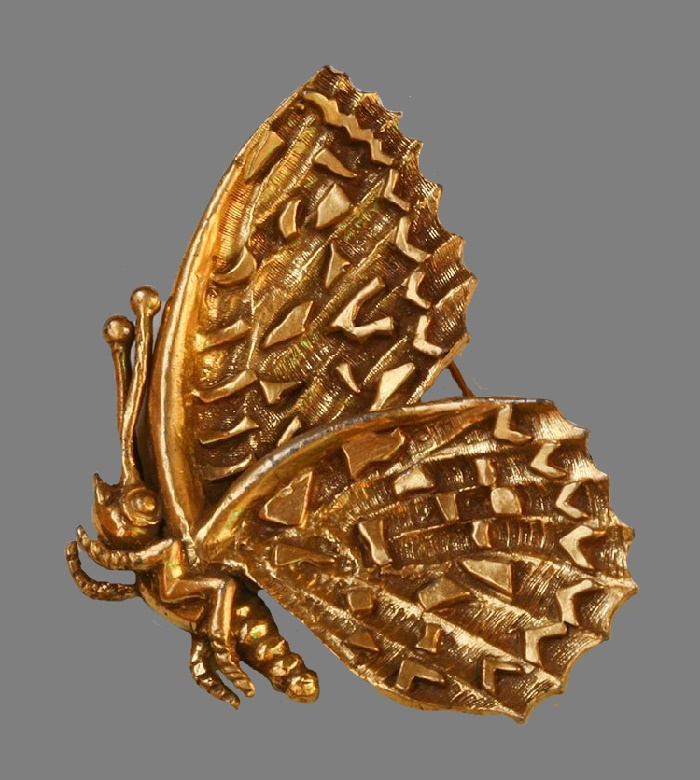 Moth brooch. Gold tone jewelry alloy. 6 cm. 1960s
