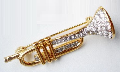 Alto horn Vintage Brooch. Musical instruments in jewellery