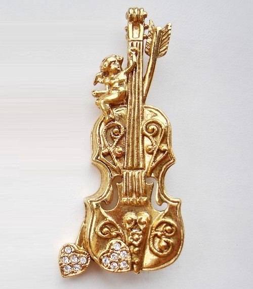 Golden Cello brooch