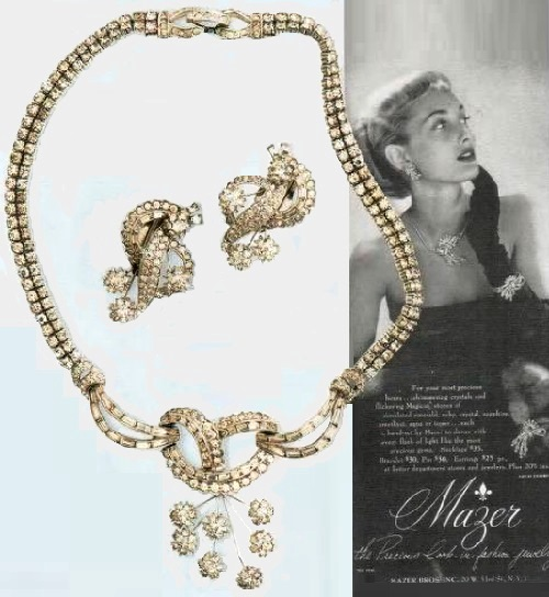 Necklace with pendant and earrings, Mazer Brothers. rhodium-coated metal, rhinestone. 1940