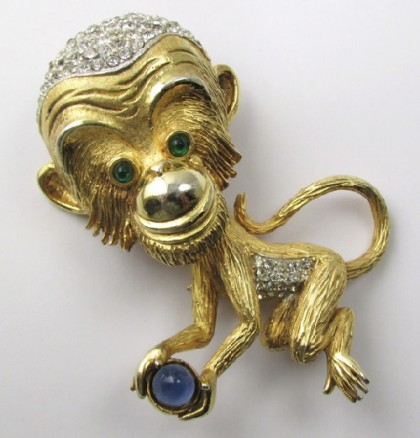 Monkey (2016 February 8), Element fire. Pauline Rader vintage brooch Monkey