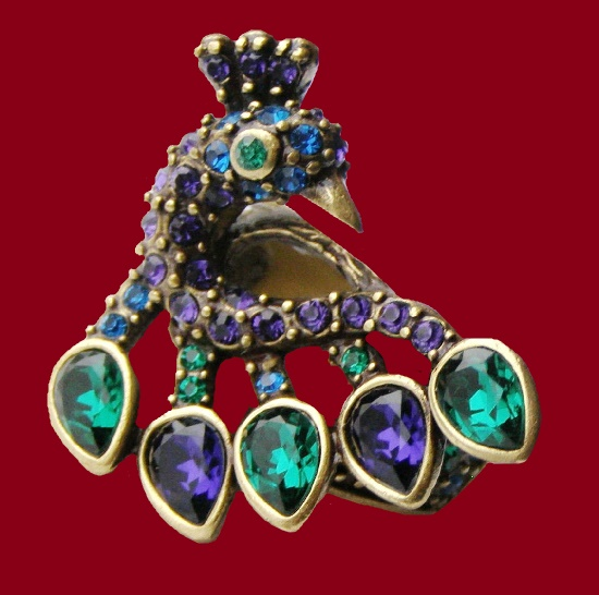 Peacock ring. Gold tone alloy, Swarovski Crystals. 1990s