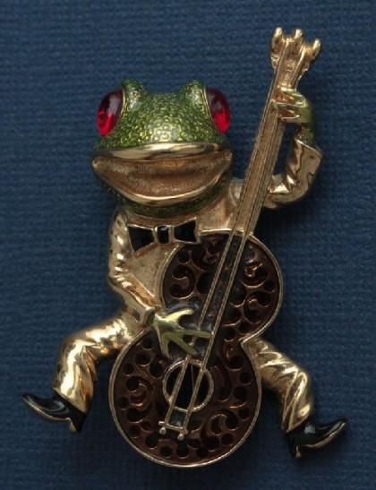 Funny frog playing bass. KJL vintage brooch