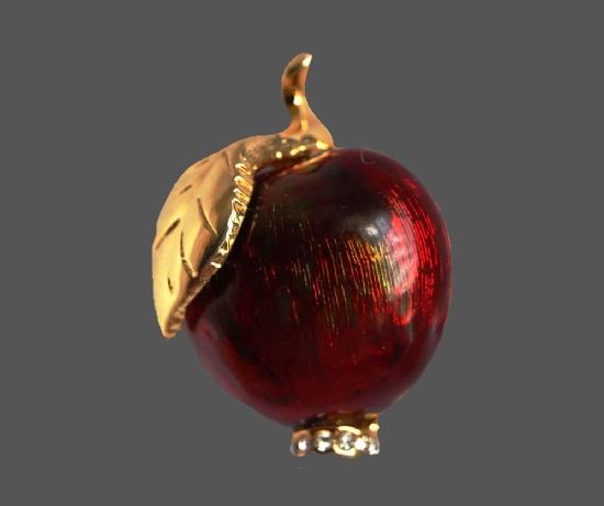 Red apple brooch. Gold tone, enamel, rhinestones. 2.7 cm. 1990s