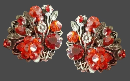 Red glass flowers silver tone metal earrings