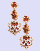 Red rhinestones earrings with pendants. metal, gilding, glass, rhinestone. 1960s. lengh 7 cm. £ 50-75