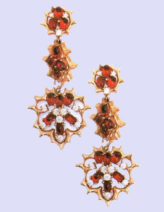 Red rhinestones earrings with pendants. metal, gilding, glass, rhinestone. 1960s. length 7 cm. £ 50-75