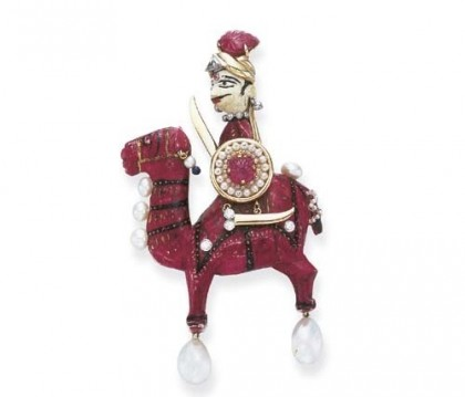 Red-stained and painted ivory camel brooch of Diamonds, pearls, gold, ruby