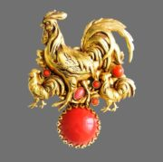 Rooster brooch. 24 K Gold plated, cabochons. 6.5 cm