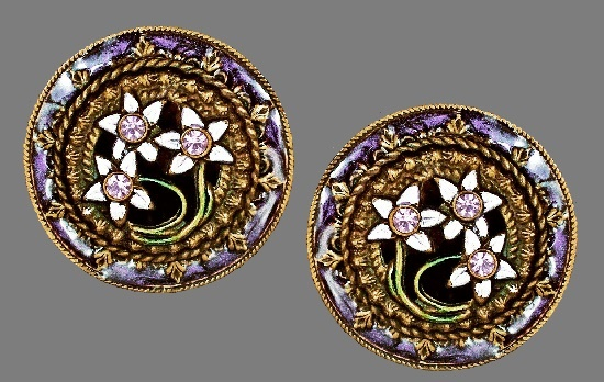 Round clip on earrings, flower design. Brass, enamel, crystals