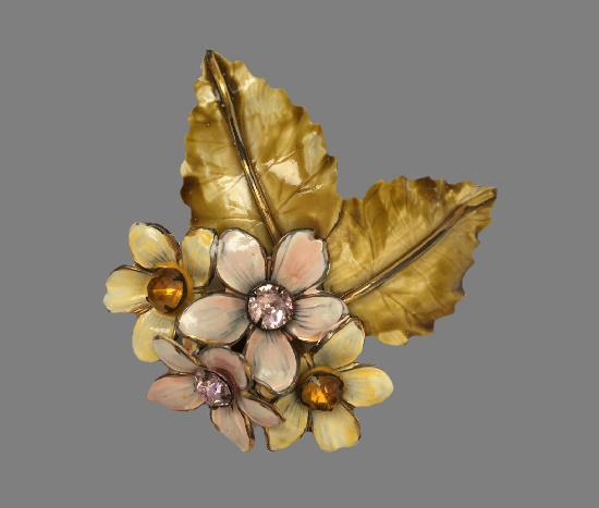 Flower and leaves brooch. 925 sterling silver, gold plated, enamel, rhinestones. 10 cm. 1940s