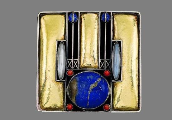 Silver, gold, carnelian, opal, lapis lazuli, moonstone