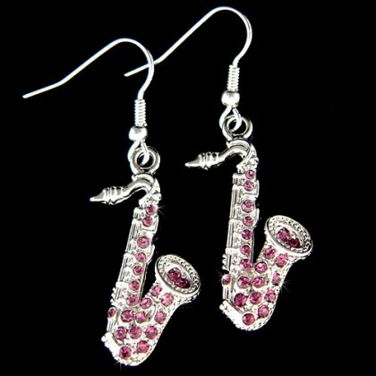 Swarovski Crystal Deep Purple Tenor Alto Saxophone Earrings