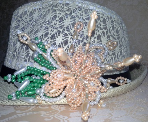 Decorated with beads, corals, pearls and crystals hat