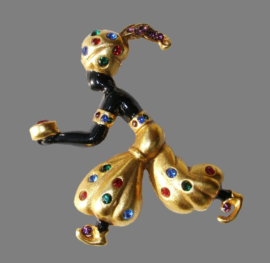 'Treasure for the Lady' vintage brooch. 1990. Matte gold tone, Swarovski crystals,5,5 cm