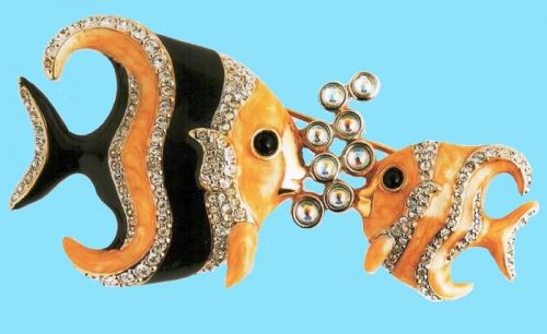 Tropical fish brooch, metal, gold tone, rock crystal. $ 230