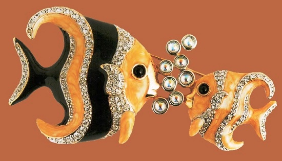 Tropical fish brooch. Metal, gilding, black and ivory enamel, transparent rhinestone, metal pearls. 1940's. 7 cm. £ 140-160 CRIS