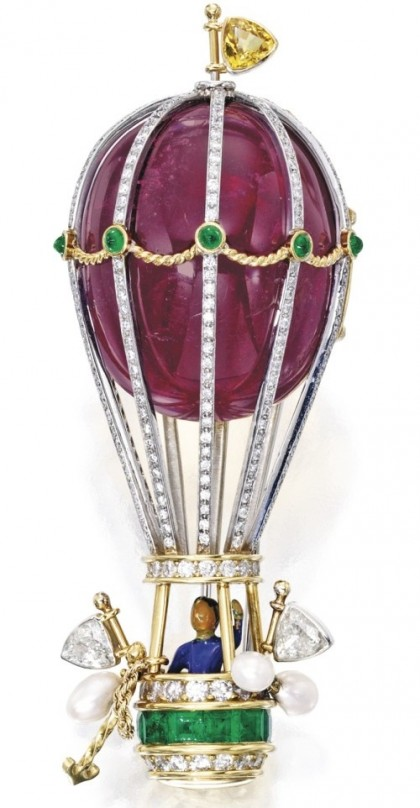 Hot air balloon with a male passenger. Two-color gold brooch, colored stone, diamond, sapphire, pearl and enamel, Verdura high jewellery