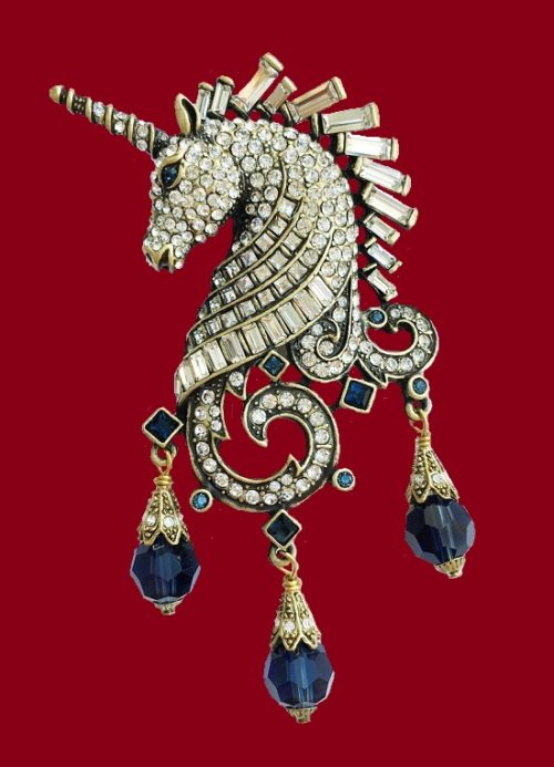 Unicorn rare vintage brooch. Swarovski crystals, rhinestones, blackening. 9 cm, 1990s