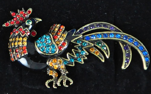 Rooster (28 January 2017), Element fire. Vintage brooch Rooster by Heidi Daus