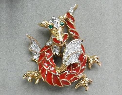 Dragon (2024 February 10), Element tree. Vintage brooch by Attwood & Sawyer, England, 1980s