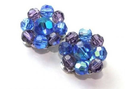 Collectible clips Blue Coracao 1950. Marvella costume jewellery