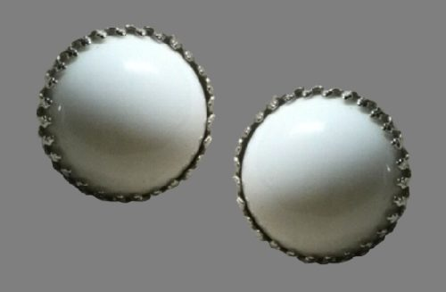 White Button Clip On Earrings