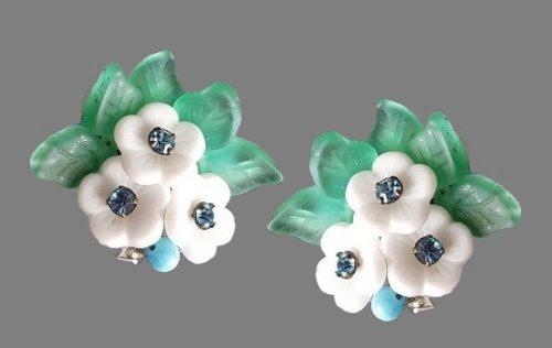 White violets clip on earrings. Lucite, rhinestones
