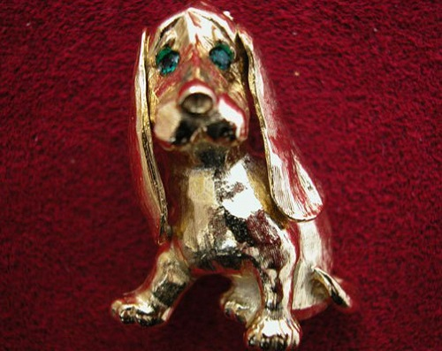 Dog (16 February 2018), Element The Earth. Brooch Golden Spaniel by Sphinx (UK), 1980s