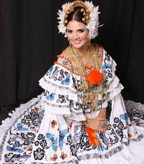 Gorgeous woman in traditional Pollera of white color