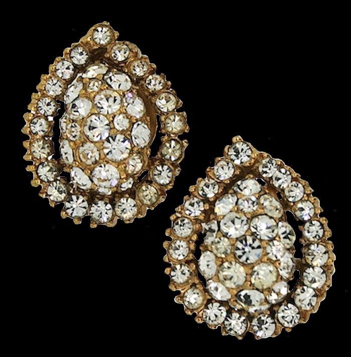 1950s Diamante Vintage Earrings