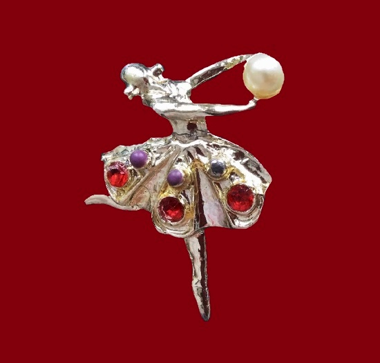 1960s ballerina with a ball brooch. Faux pearl, enamel, crystals