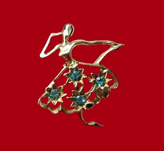 Ballerina brooch. Gold tone metal alloy, rhinestones. 1970s
