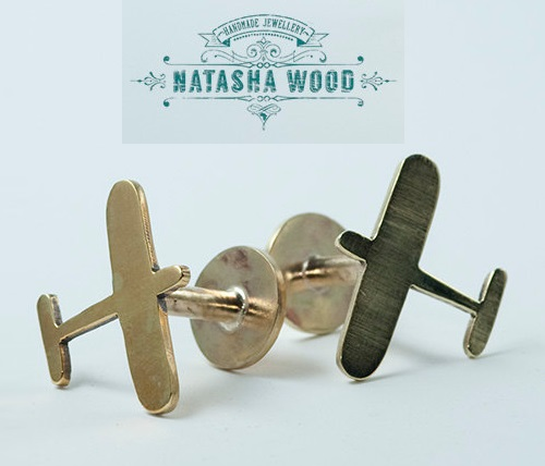Brass airplane fun cuff links. Silver jewellery by Natasha Wood