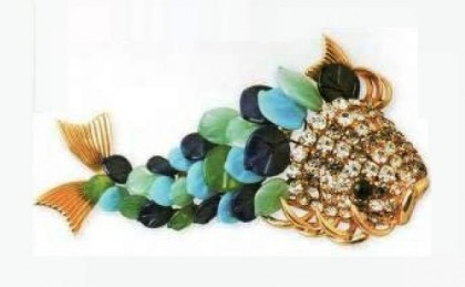 Fish Brooch of metal, gold plated, fish scales – cast glass, cabochons eyes. 1968