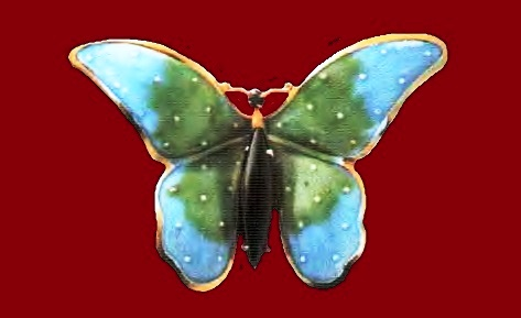 Butterfly Brooch. Metal, gilding, black cast glass, blue and green enamels. 1960's. width 4.5 cm £ 35-45 JJ