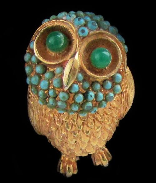 Cadoro vintage brooch Wise Owl