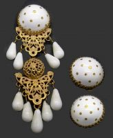 Charming white enamel set of brooch and earrings in matt gold tone. Authentic 1950s