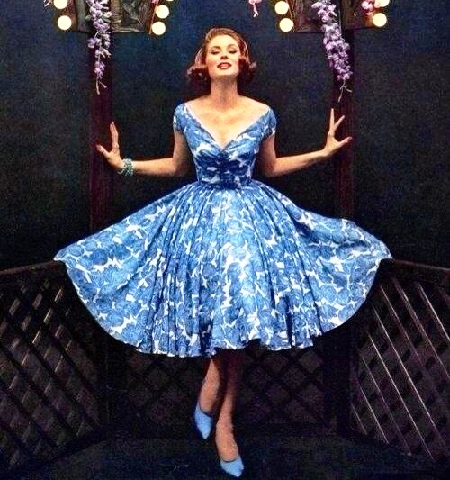 Blue dress and bracelets. Christian Dior New Look, 1950s