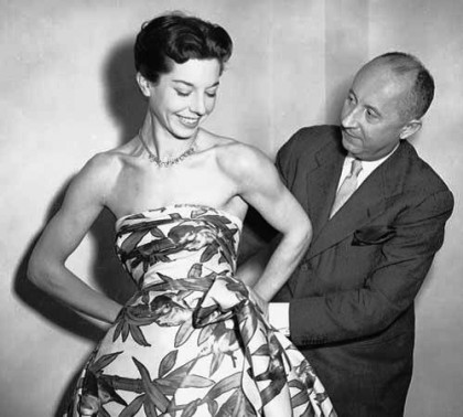 Hollywood diva Ava Gardner and Christian Dior. New Look, 1950s