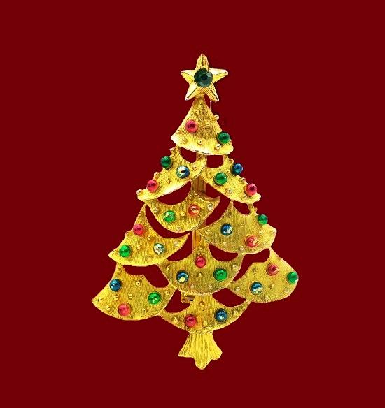 Christmas tree brooch. Gold tone, glass, enamel. 6 cm. 1980s