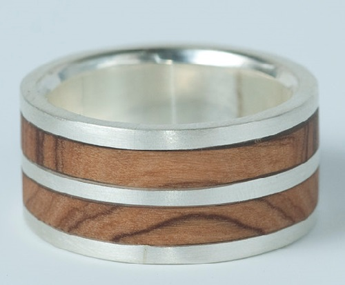Double band Olive wood and silver mans ring. Handmade by jeweler Natasha Wood