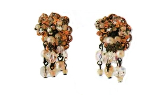 Earrings. metal, gilding, artificial pearls, transparent crystals. 1950s 3.75 cm £ 30-35 JJ