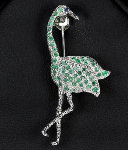 Egret, brooch amulet