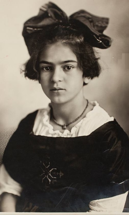 June 15, 1919. 12 year-old Frida Kahlo wearing modest beads